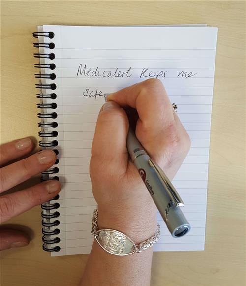Angela wears MedicAlert Byzantine Silver Bracelet