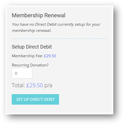 Membership renewal section