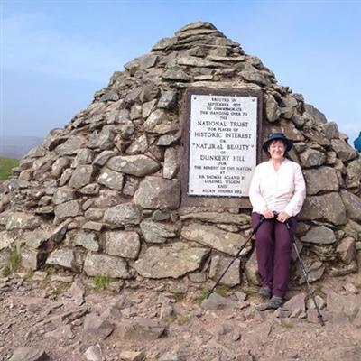 Linda Alcock hiking Dunkery Beacon